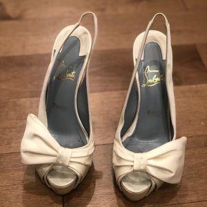 Christian Louboutin Vendome white silk satin heel
